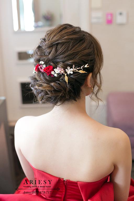 紅色禮服造型,歐美編髮,新娘秘書,台北新秘,新娘造型,大直典華蜷川實花