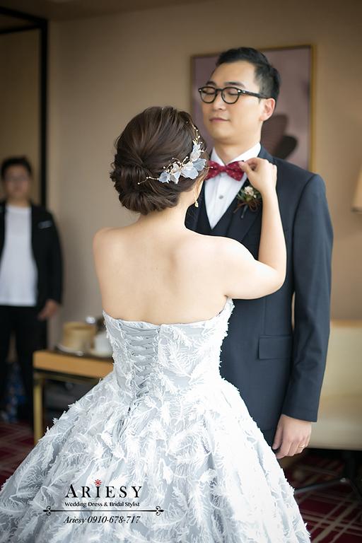 歐美風新娘造型,新娘秘書,台中新秘,歐美盤髮,歐美新秘,愛瑞思婚紗