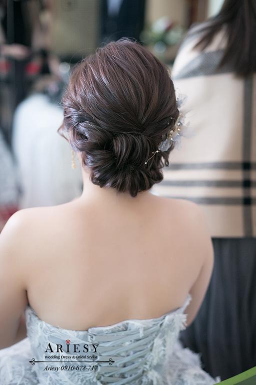 歐美風新娘造型,新娘秘書,台中新秘,短髮歐美盤髮,歐美新秘,愛瑞思婚紗