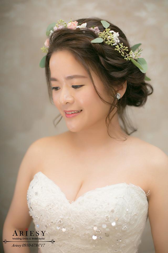 白紗造型,迎娶造型,鮮花造型,鮮花新秘,編髮新秘