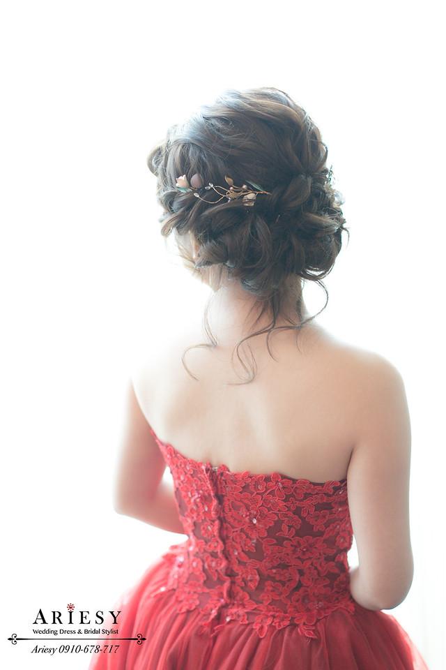 紅色禮服,文定造型,歐美髮型,新娘秘書,台北新秘