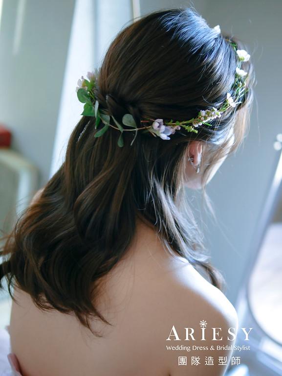 鮮花造型,黑髮新娘,新竹新秘,秀和服造型,新娘秘書