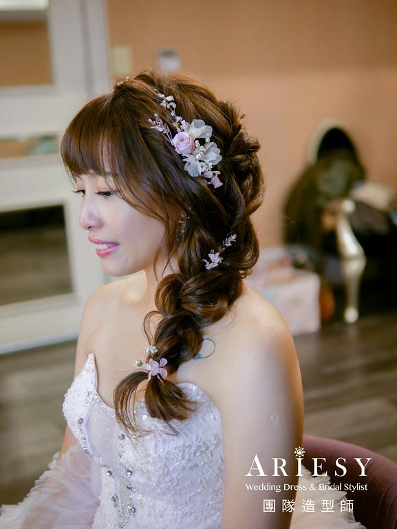 送客髮型,編髮造型,甜美造型,新娘編髮髮型,新秘花藝