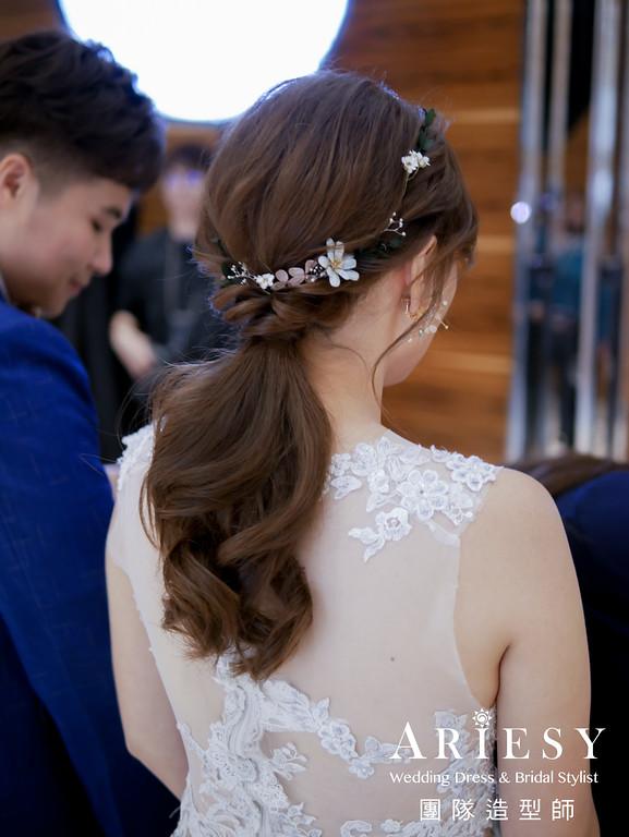 敬酒髮型,馬尾造型,新秘推薦,新娘花藝造型,新秘花藝