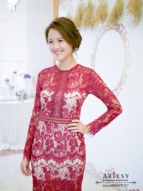 紅色洋裝禮服文定,新秘,新娘秘書,台北新秘,文定造型,編髮盤髮