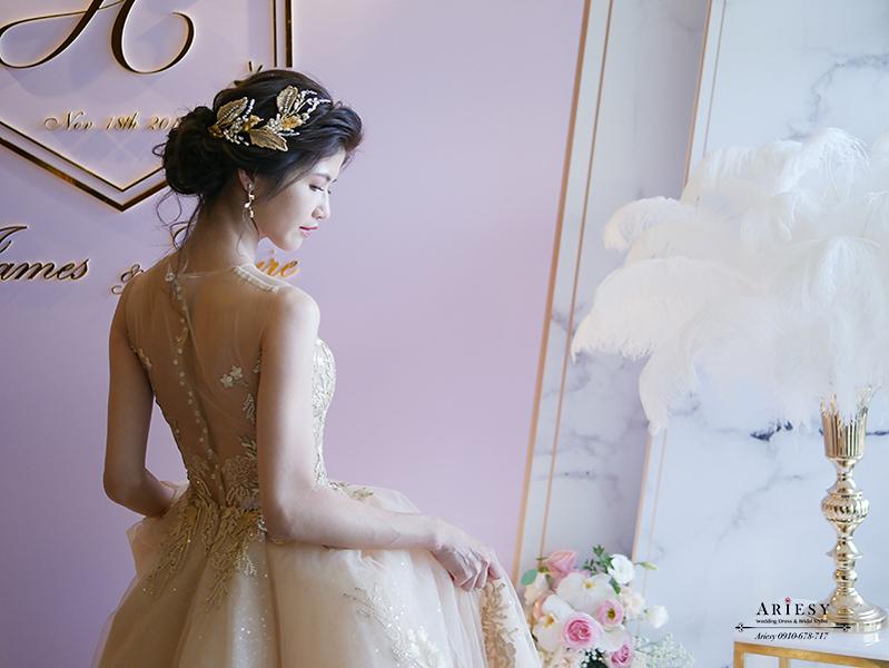 新娘秘書,新秘,愛瑞思,Ariesy,金色禮服婚紗,晶英酒店婚禮