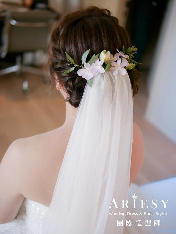 迎娶造型,新娘清透妝感,新娘髮型,新娘鮮花造型,新秘花藝
