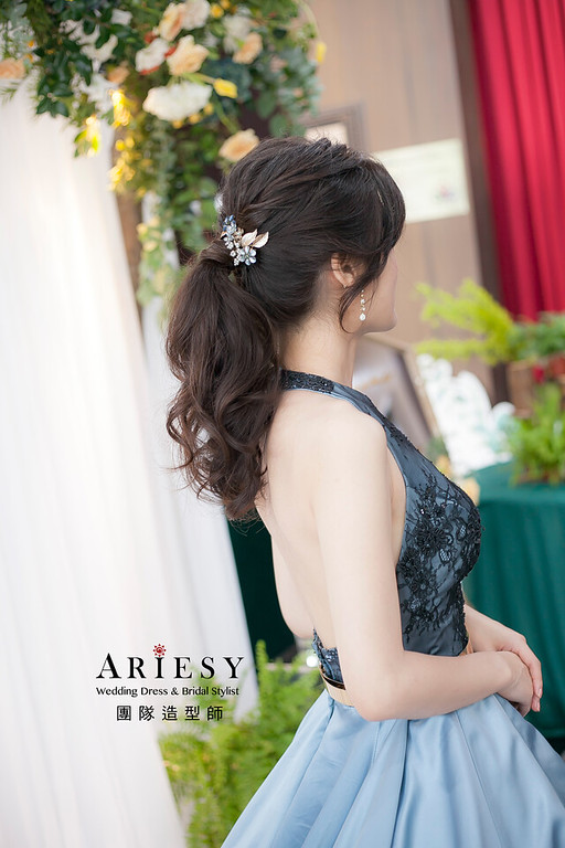 台北新祕,新娘秘書,新娘造型,自然清透妝感,蓬鬆編髮,新秘,馬尾造型
