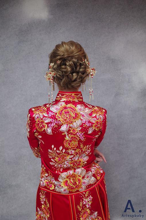 新娘秘書,新秘造型,文定造型,編髮造型,龍鳳掛中式造型