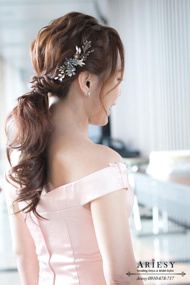 敬酒造型,粉色魚尾禮服,名媛髮型,新秘推薦,新娘秘書,時尚低馬尾,新娘造型