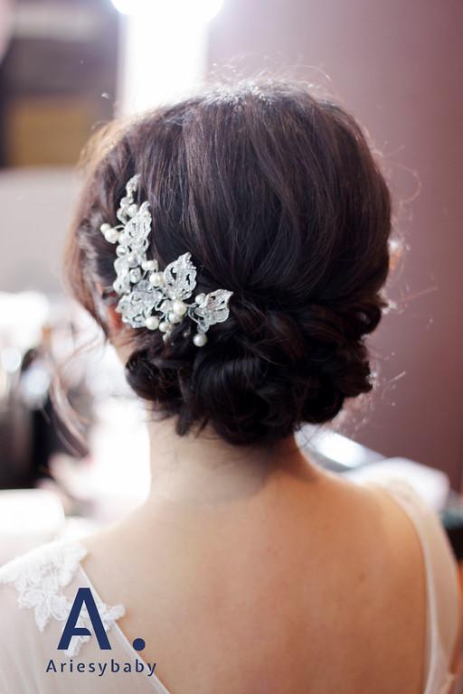 台北新秘,黑髮造型,新娘髮型,自然妝感,黑髮盤髮
