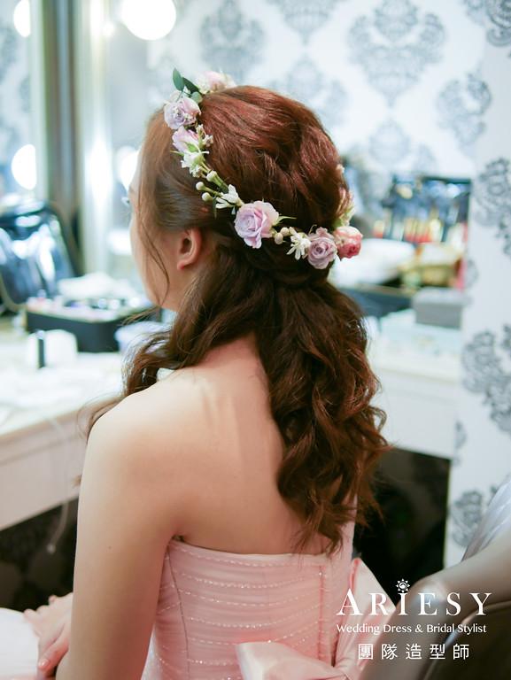 粉色禮服造型,送客髮型,公主頭造型,花圈造型,黑髮造型