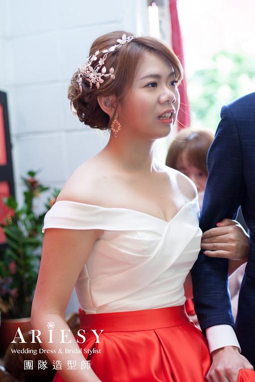 文定髮型,新娘編髮,新娘髮型,紅色禮服造型,新娘自然妝