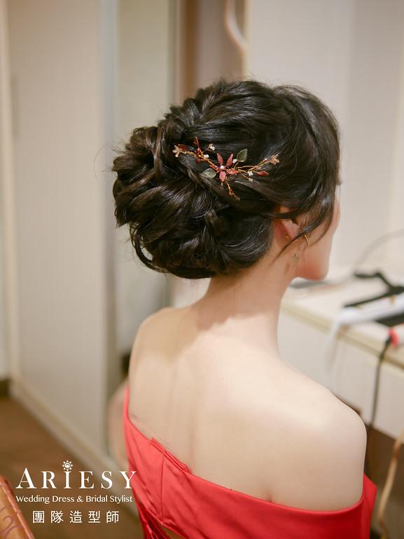敬酒造型,編髮造型,紅色禮服造型,新秘推薦,花耳環