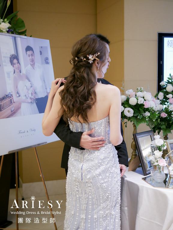 敬酒造型,公主頭造型,新娘髮型,粉藍色禮服造型,新秘推薦