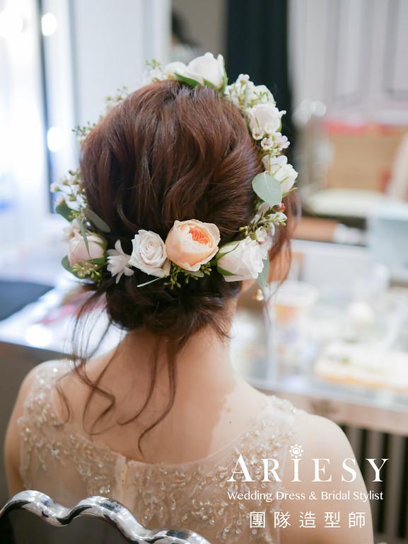 送客造型,金色禮服髮型,鮮花造型,花圈造型,新娘鮮花造型