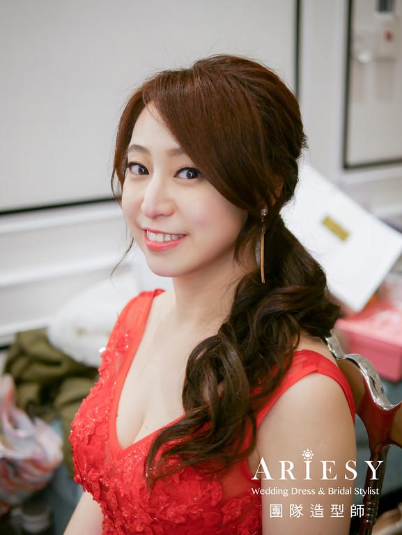 敬酒造型,紅色禮服造型,甜美新娘造型,新秘推薦,新娘髮型