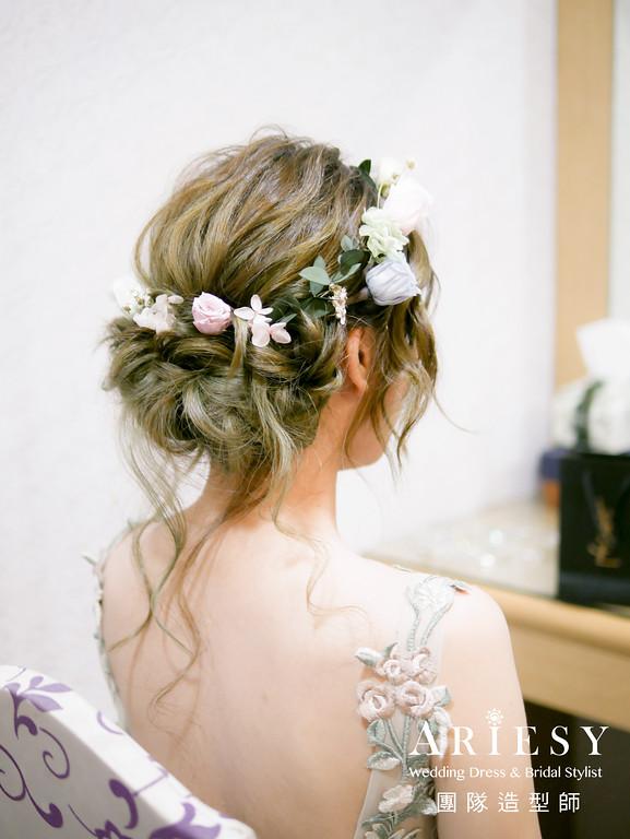 敬酒造型,新秘花藝,新娘花圈,粉綠花布禮服造型,新莊新秘