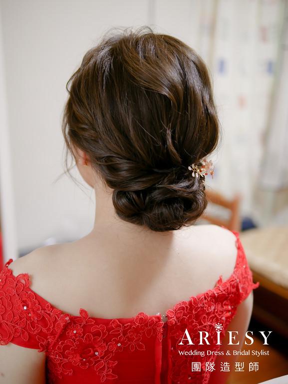 文定髮型,紅色禮服造型,新娘旗袍造型,新娘編髮,新秘手工飾品