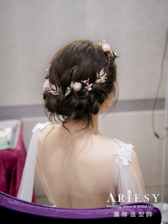進場髮型,自然編髮造型,台北新秘,自然精緻妝感,歐美風格
