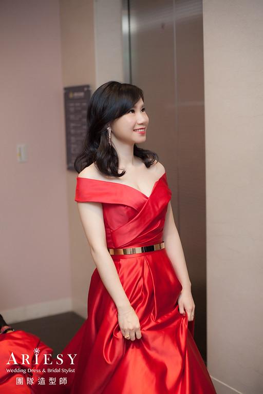 送客造型,紅色禮服髮型,放髮造型,短髮新娘,歐美風格
