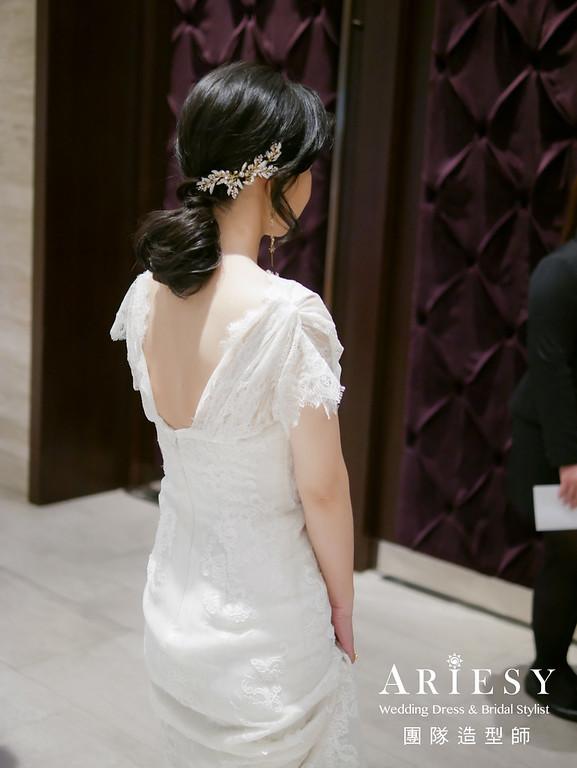 敬酒造型,白紗禮服造型,短髮新娘,歐美風格,黑髮新娘