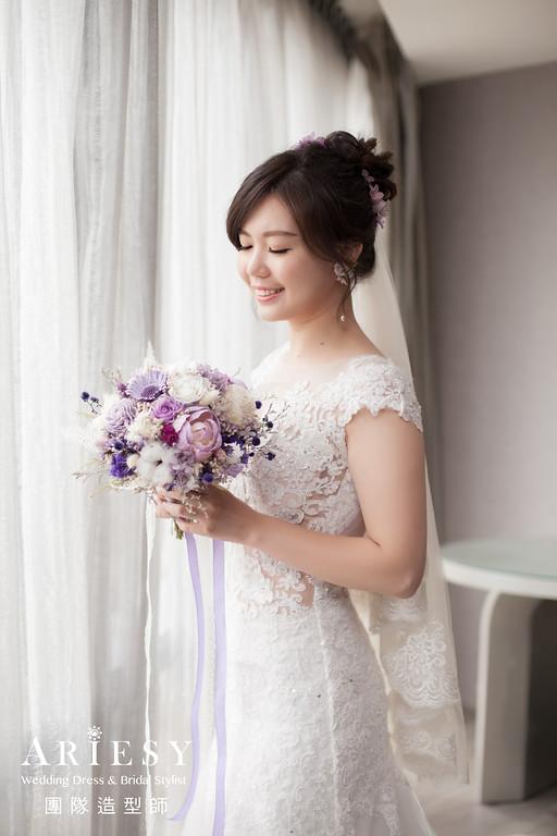 白紗進場髮型,新娘編髮,新娘清透妝,新秘花藝,新娘鮮花造型