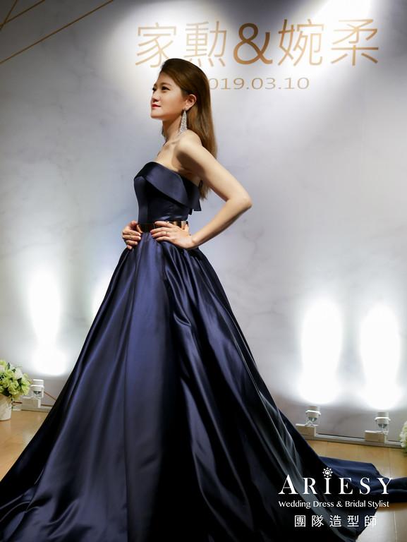 送客造型,新娘時尚造型,油頭造型,新娘妝,深藍色禮服