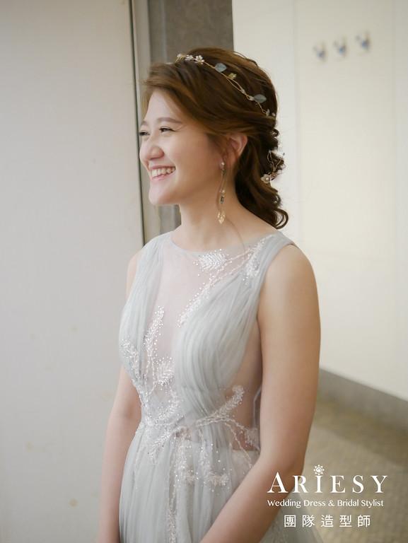 敬酒造型,新娘編髮,單眼皮新娘,新秘花藝,自然妝感