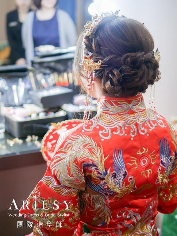 敬酒造型,秀禾服髮型,新娘編髮,歐美風格,自然妝感