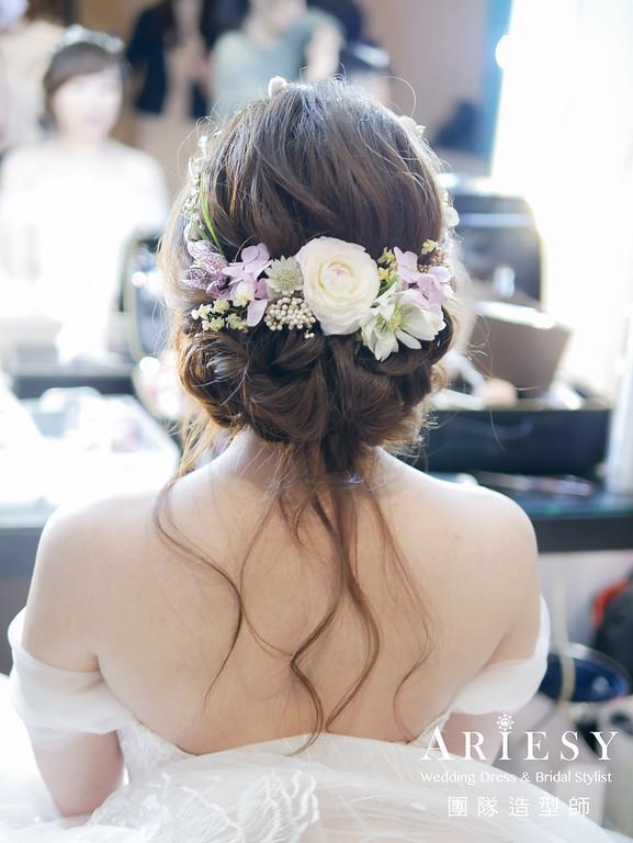 白紗進場髮型,新娘鮮花造型,愛瑞思婚紗,歐美盤髮,新娘秘書
