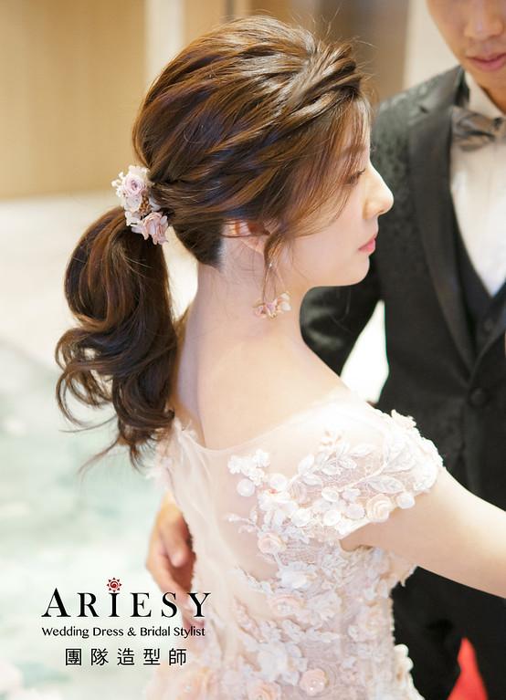 新娘秘書、編髮新娘造型、自然妝感、甜美風格、花耳環、花戒指