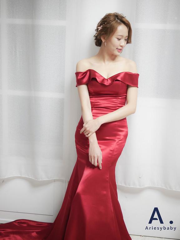 新祕,新娘祕書,盤髮新娘造型,Ariesybaby造型團隊,編髮造型,紅色禮服造型