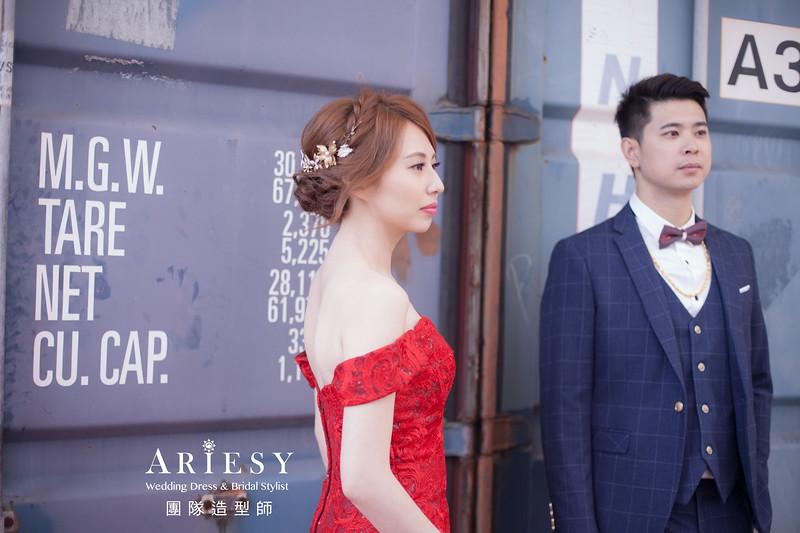 文定進場髮型,編髮造型,紅色禮服造型,新娘髮型,新娘自然妝