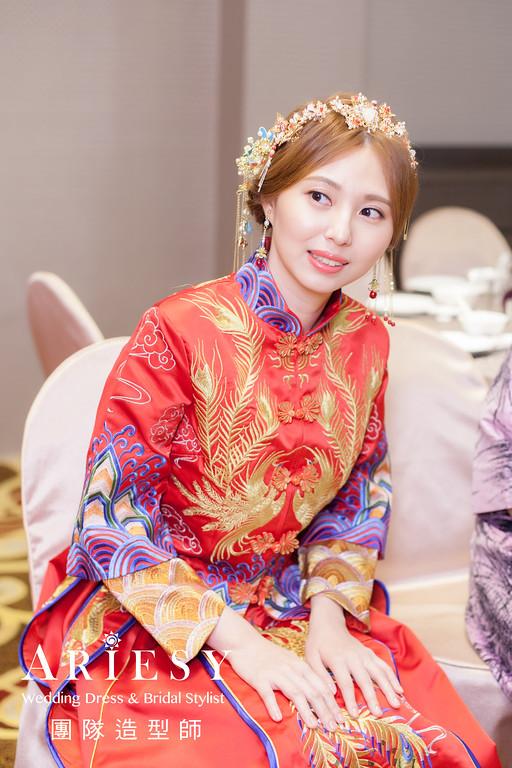 文定髮型,秀禾服造型,新娘妝感,編髮造型,紅色禮服造型