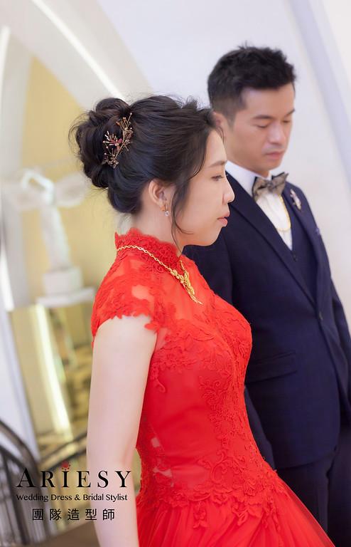 桃園新祕,新娘秘書,新娘造型,蓬鬆編髮,文定造型,自然清透妝感,新娘髮型,盤髮造型,推薦新秘