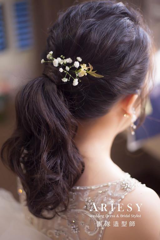 桃園新祕,新娘秘書,新娘造型,蓬鬆編髮,鮮花造型,自然清透妝感,新娘髮型,馬尾造型,推薦新秘