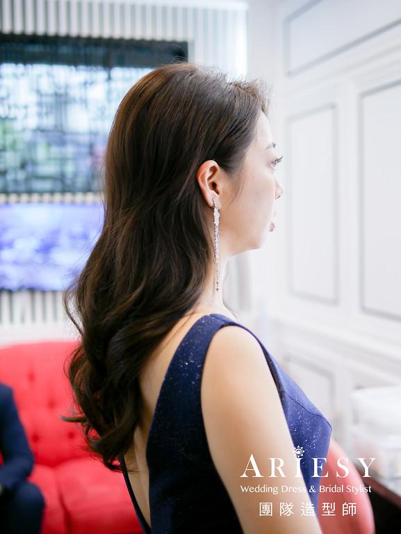 送客造型,放髮造型,精緻新娘自然妝,深藍色禮服造型,時尚風格造型