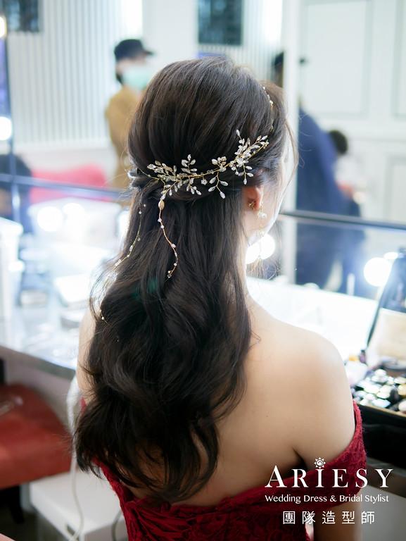 敬酒造型,公主頭造型,編髮新秘,蓬鬆線條髮型,新秘手工飾品