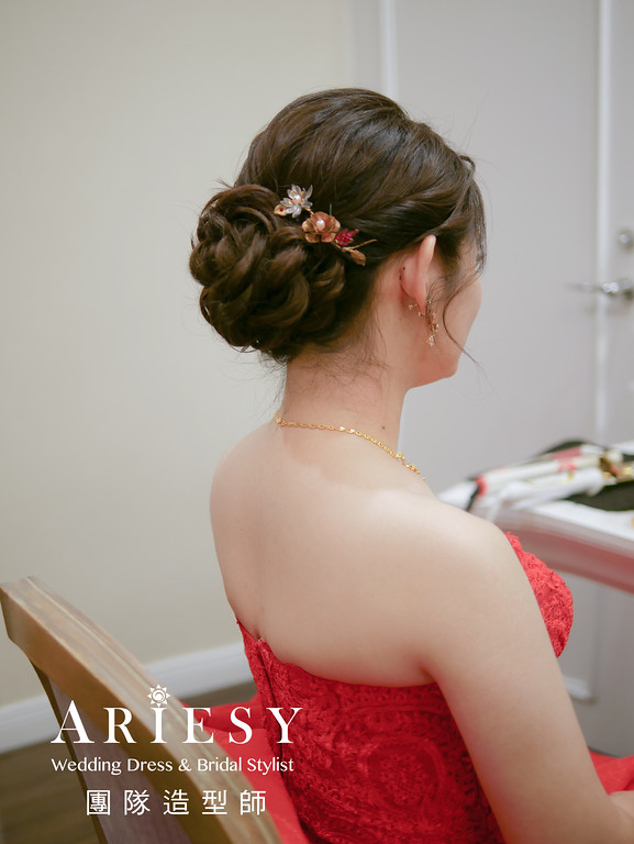 敬酒造型,新娘編髮,短髮新娘,新娘妝,新娘編髮