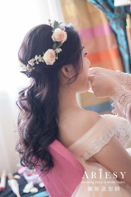 粉橘色禮服造型,送客髮型,公主頭造型,花圈造型,黑髮造型
