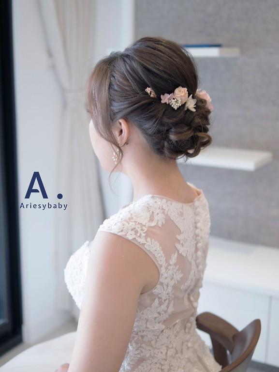 白紗造型,新娘秘書,新祕, Ariesybaby團隊,花藝飾品,新娘造型