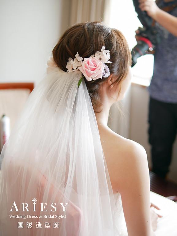 迎娶造型,鮮花造型,新秘花藝造型,台北新秘,歐美新娘