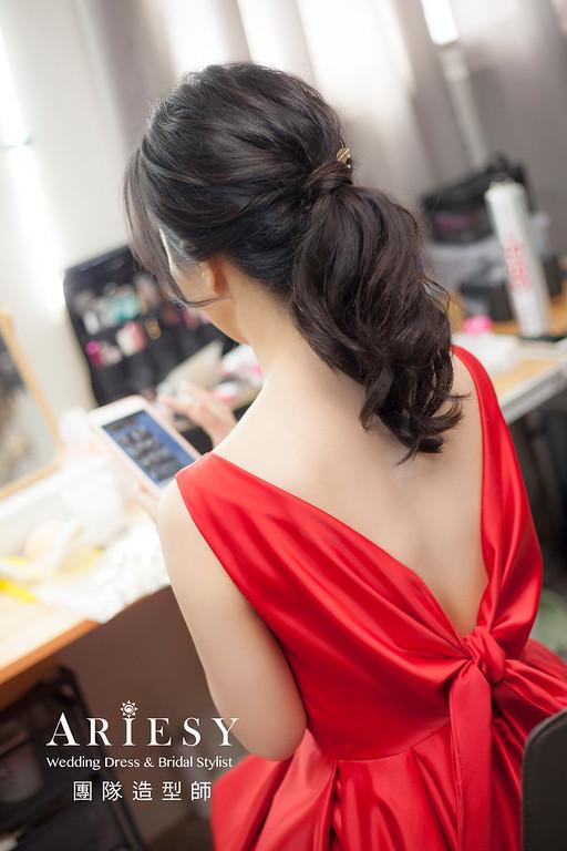 新祕,新娘秘書,新娘造型,自然清透妝感,蓬鬆編髮,黑髮新娘,新娘髮型,文定造型,紅禮服造型