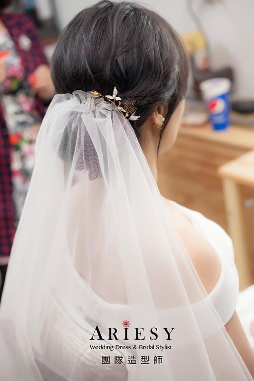 新祕,新娘秘書,新娘造型,自然清透妝感,蓬鬆編髮,黑髮新娘,新娘髮型,白紗造型