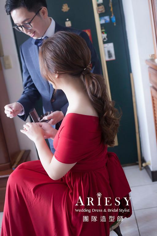 台北新祕,新娘秘書,新娘造型,新娘編髮,文定造型,自然清透妝感,新娘髮型,馬尾造型,推薦新秘