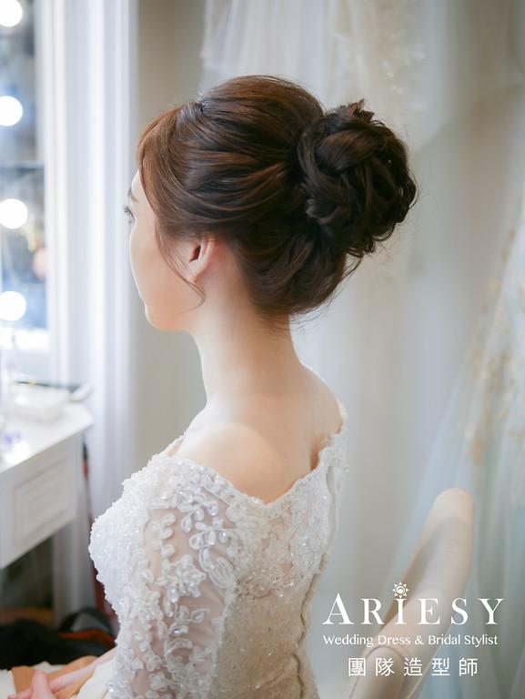 證婚髮型,台北新秘,編髮造型,氣質新娘,新娘自然妝感