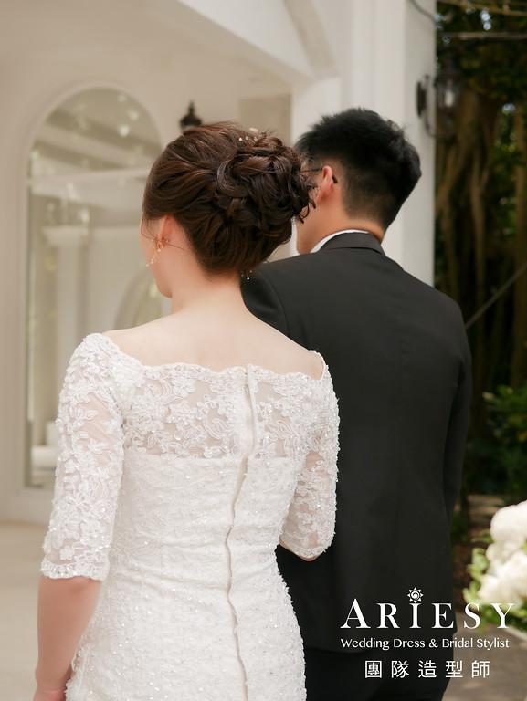 進場髮型,新娘造型,戶外婚禮造型,新娘自然妝感,蓬鬆編髮