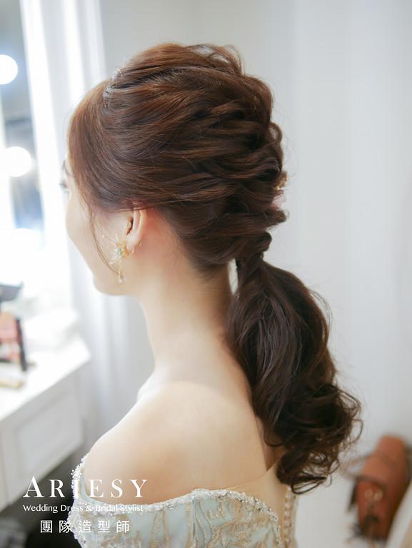 敬酒髮型,新娘秘書,新秘手作花藝,花藝造型,編髮低馬尾