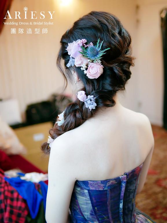 自然新娘妝感,低馬尾新娘造型,編髮新娘造型,鮮花花藝造型,新娘秘書